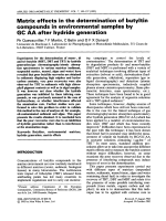 Matrix effects in the determination of butyltin compounds in environmental samples by GC AA after hydride generation.