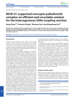 MCM-41-supported mercapto palladium(0) complex  an efficient and recyclable catalyst for the heterogeneous Stille coupling reaction.