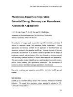 Membrane-Based Gas Separation  Potential Energy Recovery and Greenhouse Abatement Applications.