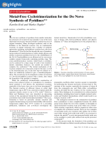 Metal-Free Cyclotrimerization for the DeNovo Synthesis of Pyridines.
