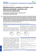 Metallocarbonyl complexes of bromo- and dibromomaleimide  synthesis and biochemical application.