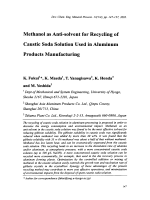 Methanol as Anti-solvent for Recycling of Caustic Soda Solution Used in Aluminum products manufacturing.