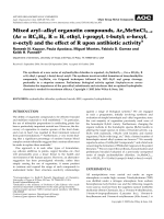 Mixed arylЦalkyl organotin compounds  ArnMeSnCl3n (Ar = RC6H4  R = H  ethyl  i-propyl  t-butyl; n-hexyl  n-octyl) and the effect of R upon antibiotic activity.