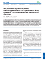 Mn(III) mixed-ligand complexes with bis-pyrazolones and ciprofloxacin drug  synthesis  characterization and antibacterial activities.