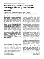 Model reactions for abiotic mercury(II) methylation  Kinetics of methylation of mercury(II) by mono-  di-  and tri-methyltin in seawater.