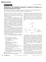 Modulation of the Biological Properties of Aspirin by Formation of a Bioorganometallic Derivative.