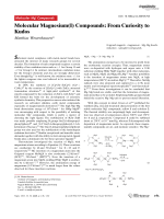 Molecular Magnesium(I) Compounds  From Curiosity to Kudos.