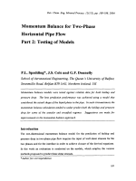 Momentum Balance for Two-Phase Horizontal Pipe Flow Part 2  Testing of Models.