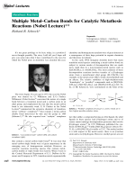 Multiple MetalЦCarbon Bonds for Catalytic Metathesis Reactions (Nobel Lecture).