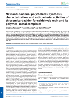 New anti-bacterial polychelates  synthesis  characterization  and anti-bacterial activities of thiosemicarbazideЦformaldehyde resin and its polymerЦmetal complexes.