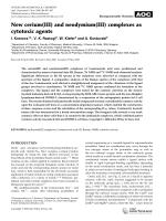 New cerium(III) and neodymium(III) complexes as cytotoxic agents.