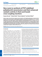 New route to synthesis of PVP-stabilized palladium(0) nanoclusters and their enhanced catalytic activity in Heck and Suzuki cross-coupling reactions.