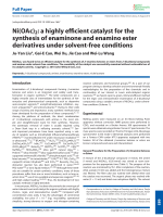 Ni(OAc)2  a highly efficient catalyst for the synthesis of enaminone and enamino ester derivatives under solvent-free conditions.