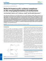 Nickel N-heterocyclic carbene complexes in the vinyl polymerization of norbornene.