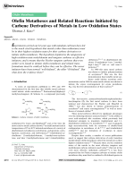 Olefin Metatheses and Related Reactions Initiated by Carbene Derivatives of Metals in Low Oxidation States.