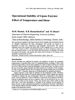 Operational Stability of Lipase Enzyme  Effect of Temperature and Shear.