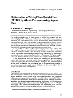 Optimisation of Methyl Tert-Butyl-Ether (MTBE) Synthesis Processes using Aspen-Plus.