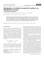 Optimization of colloidal nanoparticle synthesis via NR4(BEt3H) reduction.
