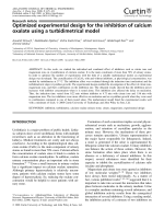 Optimized experimental design for the inhibition of calcium oxalate using a turbidimetrical model.