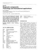 Organotin compounds  Toxicology and biomedicinal applications.