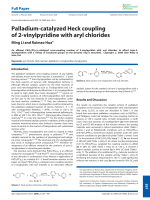 Palladium-catalyzed Heck coupling of 2-vinylpyridine with aryl chlorides.
