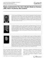 Papers nominated for The John A Brodie Medal at Chemeca 2006  held in Auckland  New Zealand.