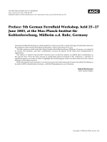 Preface  5th German Ferrofluid Workshop  held 25Ц27 June 2003  at the Max-Planck-Institut fr Kohlenforschung  Mlheim a.d