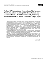 Preface  10th International Symposium of the Japanese Arsenic Scientists' Society (JASS-10) on Natural and Industrial Arsenic  29Ц30 November 2001  University Research Center Hall  Nihon University  Tokyo  Japan.