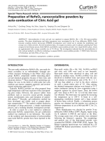 Preparation of ReFeO3 nanocrystalline powders by auto-combustion of citric acid gel.