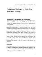 Production of Hydrogen by Electrolytic Purification of Water.