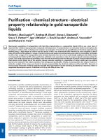 PurificationЦchemical structureЦelectrical property relationship in gold nanoparticle liquids.