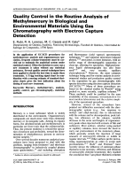 Quality control in the routine analysis of methylmercury in biological and environmental materials using gas chromatography with electron capture detection.