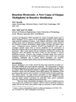 Reaction Hysteresis  A New Cause of Output Multiplicity in Reactive Distillation.