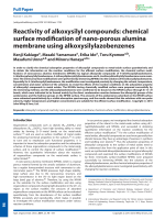 Reactivity of alkoxysilyl compounds  chemical surface modification of nano-porous alumina membrane using alkoxysilylazobenzenes.