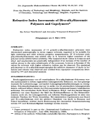 Refractive index increments of di-n-alkylitaconate polymers and copolymers.