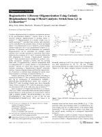 Regioselective 1-Hexene Oligomerization Using Cationic Bis(phenolato) Group4 Metal Catalysts  Switch from 1 2- to 2 1-Insertion.