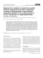 Regioselective synthesis of symmetrical pyridyl selenium compounds by bromineЦmagnesium exchange of bromopyridines using isopropyl magnesium chloride  X-ray crystal structure of 2 2 5 5-tetrabromo-3 3-dipyridyldiselenide.