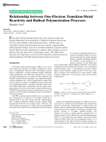 Relationship between One-Electron Transition-Metal Reactivity and Radical Polymerization Processes.