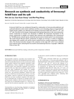 Research on synthesis and conductivity of ferrocenyl Schiff base and its salt.