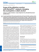 Scope of the allylation reaction with [RuCp(PP)]+ catalysts  changing the nucleophile or allylic alcohol.