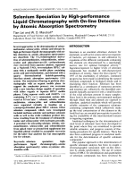 Selenium speciation by high-performance liquid chromatography with on-line detection by atomic absorption spectrometry.