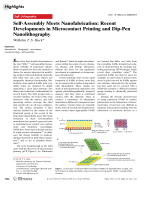 Self-Assembly Meets Nanofabrication  Recent Developments in Microcontact Printing and Dip-Pen Nanolithography.