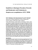 Sensitivity to Hydrogen Peroxide of Growth and Hyaluronic Acid Production by Streptococcus zooepidemicus ATCC 39920.