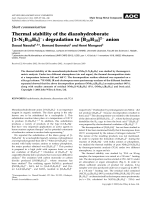 Short communication  Thermal stability of the diazohydroborate [1-N2B10H9]  degradation to [B20H18]2 anion.