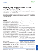 Silanol dyes for solar cells  higher efficiency and significant durability.