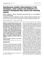 Simultaneous butyltin determinations in the microlayer  water column and sediment of a northern Chesapeake Bay marina and receiving system.