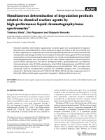 Simultaneous determination of degradation products related to chemical warfare agents by high-performance liquid chromatographymass spectrometry.