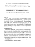 Solubilities and polymer-solvent-nonsolvent -compositions of poly (di-n-alkyl itaconates).