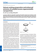 Solvent-etching preparation and enhanced emission of acetylferrocene organometallic nanoparticles.
