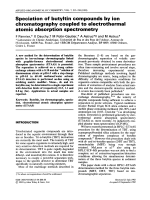 Speciation of butyltin compounds by ion chromatography coupled to electrothermal atomic absorption spectrometry.